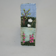 SALE Embroidered Appliqued Brooch - Foxgloves and sheep