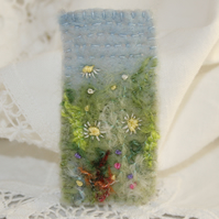 Meadow brooch - embroidered and felted
