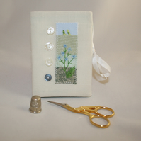 SALE - Embroidered Needlecase - Appliqued wildflower meadow