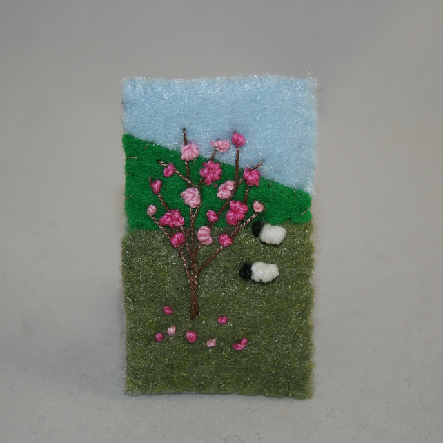 Embroidered Brooch - Blossom and sheep