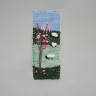 Embroidered Appliqued Brooch - Blossom and sheep
