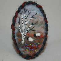 Embroidered Felted Brooch - Heathland Sheep