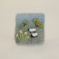Daffodils and Sheep - Embroidered and felted brooch