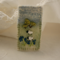 Bluebells and Sheep - Embroidered and felted brooch