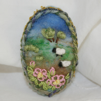 Embroidered Felted Spring Blossom Brooch - Hillside and Sheep