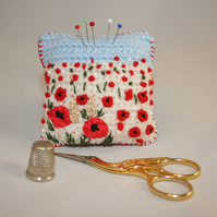 Poppies Pincushion - Embroidered and crocheted