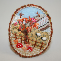 SALE - Embroidered Brooch - Autumn