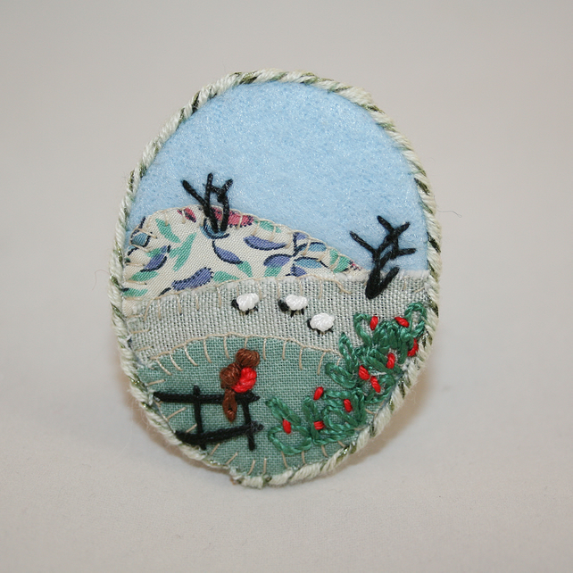 Winter Meadows Brooch Hand Embroidered