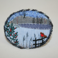 Winter Landscape Brooch Hand Embroidered