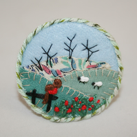 Winter Robin Brooch Hand Embroidered