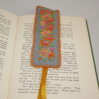 SALE - Bookmark - Orange Retro Daisies