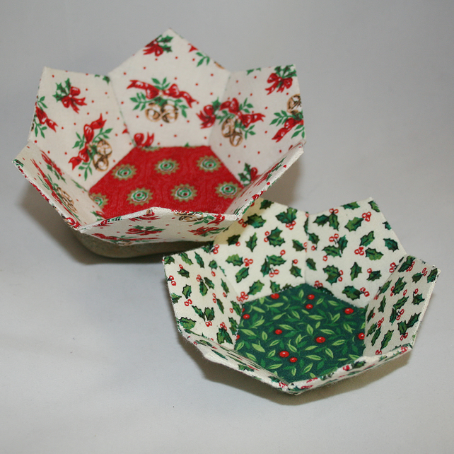 Christmas Bowls - set of two in patchwork