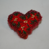 Ponisettia Brooch - Embroidered on a knitted Heart
