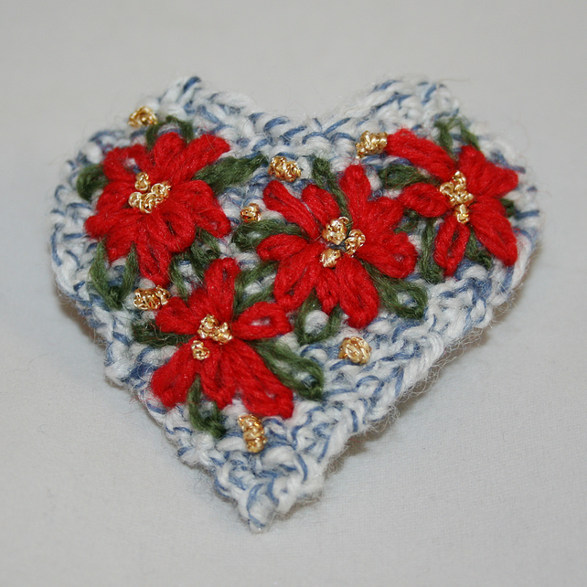 Ponisettia Brooch - Embroidered on a Pale Blue Heart