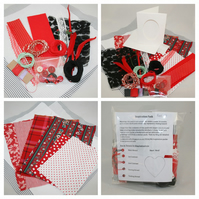 Red Inspiration Pack 01 - Fabrics, Fibres and Embellishments