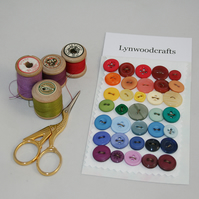 35 Buttons - 5 each of rainbow colours - including vintage