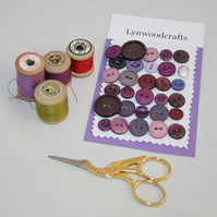 30 Purple and Plum Buttons - including vintage
