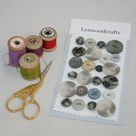 24 Grey Buttons - including vintage