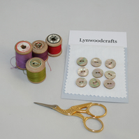 Set of 9 Shell Buttons