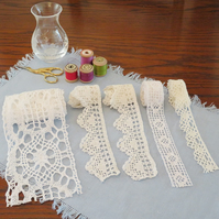5 lengths of vintage lace