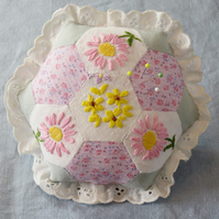 Hexagonal Patchwork Pincushion from embroidered vintage linen