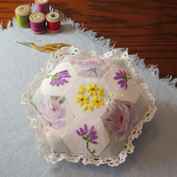 Hexagonal Patchwork Pincushion, Yellow and Lilac, from embroidered vintage linen