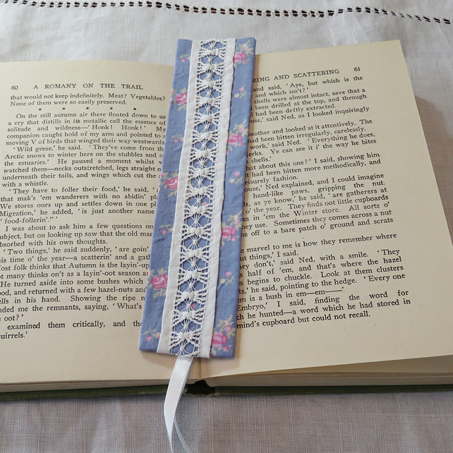 Bookmark - Blue Vintage Fabric and Lace