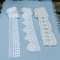3 lengths of vintage crocheted lace