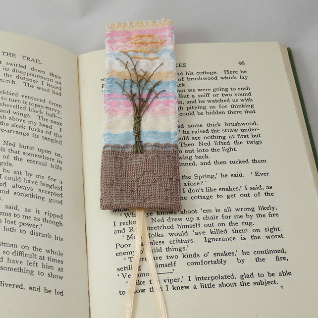 Embroidered Bookmark - Winter Sunset , embroidered layered lace