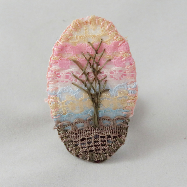 Winter Sunset Brooch Hand Embroidered Layered Lace