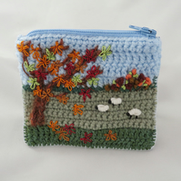 SALE - Embroidered Autumn Zipped Purse