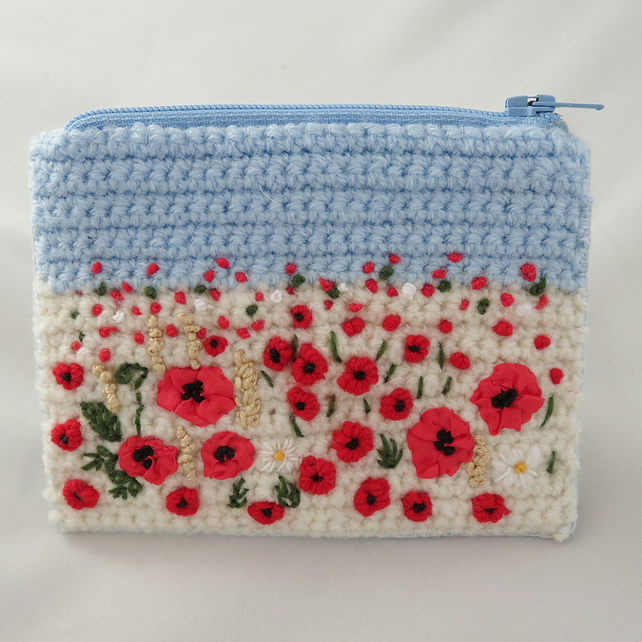 Embroidered Harvest Poppies Zipped Purse