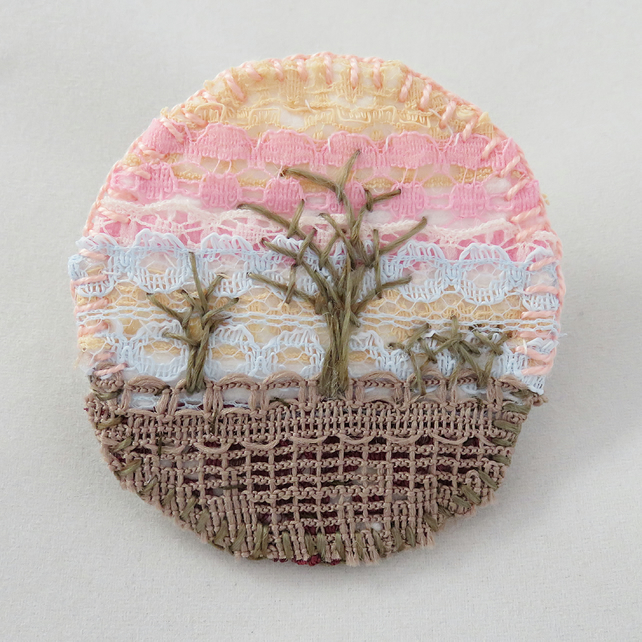 Winter Sunset Circular Brooch Hand Embroidered Layered Lace