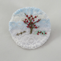 Winter Berries Brooch Hand Embroidered Layered Lace