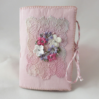 Antique Lace and Flowers Embroidered Needle Book