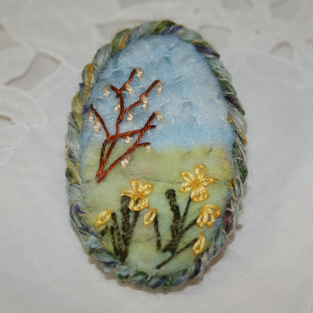 Embroidered Spring Brooch - Daffodils and Catkins
