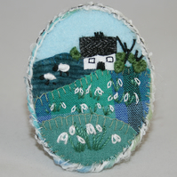 Snowdrops Brooch Hand Embroidered - Oval