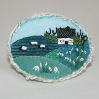 Snowdrops Brooch Hand Embroidered - Landscape