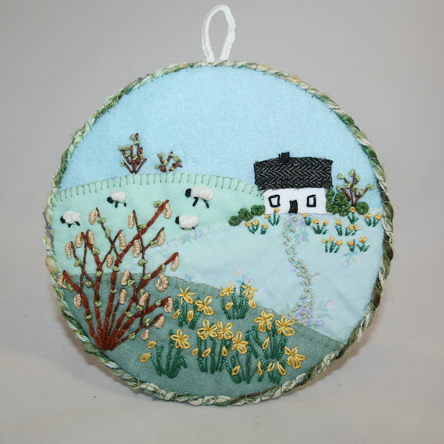Daffodil Cottage - hanging, hand embroidered