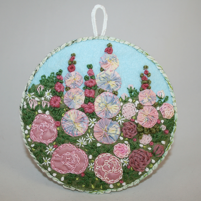 Roses and Hollyhocks Plaque - embroidered garden scene