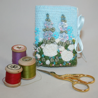 Embroidered Needle Book - Hollyhocks and Roses