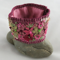 Embroidered Hand-dyed Cuff