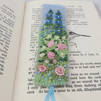 Embroidered Bookmark - Pink Rose Garden