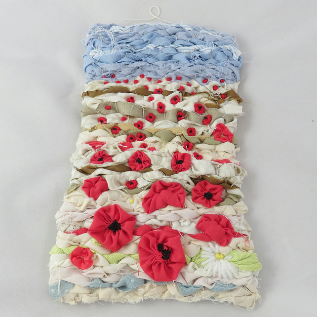 SALE - Poppies - Woven and Embroidered Textile hanging