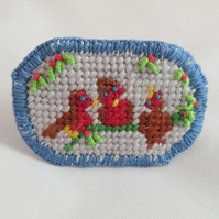 Christmas Robins - a Tapestry Brooch