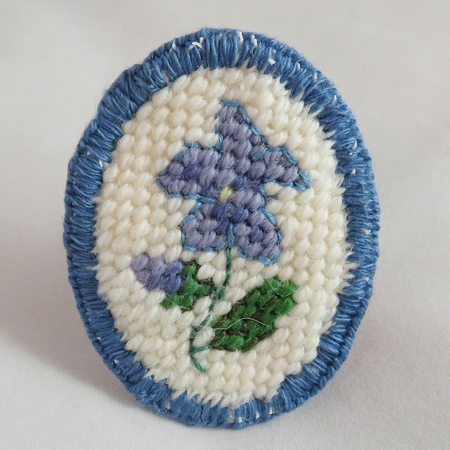 Tapestry Brooch - Blue Flower
