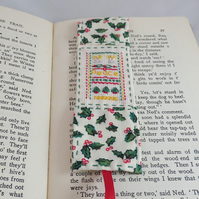 Christmas Bookmark - Miniature sampler and holly fabric