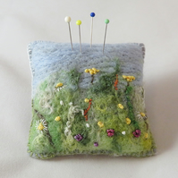 Meadow Pincushion - felted and embroidered