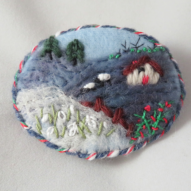 Winter Sheep - embroidered and felted