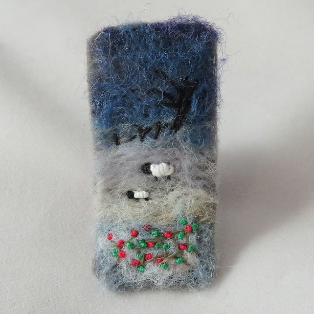 Frosty Sheep - embroidered and felted